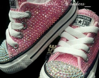 3e5608266772 Infant   Toddlers Girl Pink Swarovski Rhinestone Converse