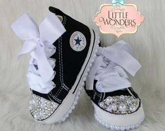 035f04e56437 Swarovski Rhinestone And Pearl Baby Bling Black Converse