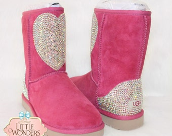Swarovski Rhinestone Women Pink Heart Ugg Boots