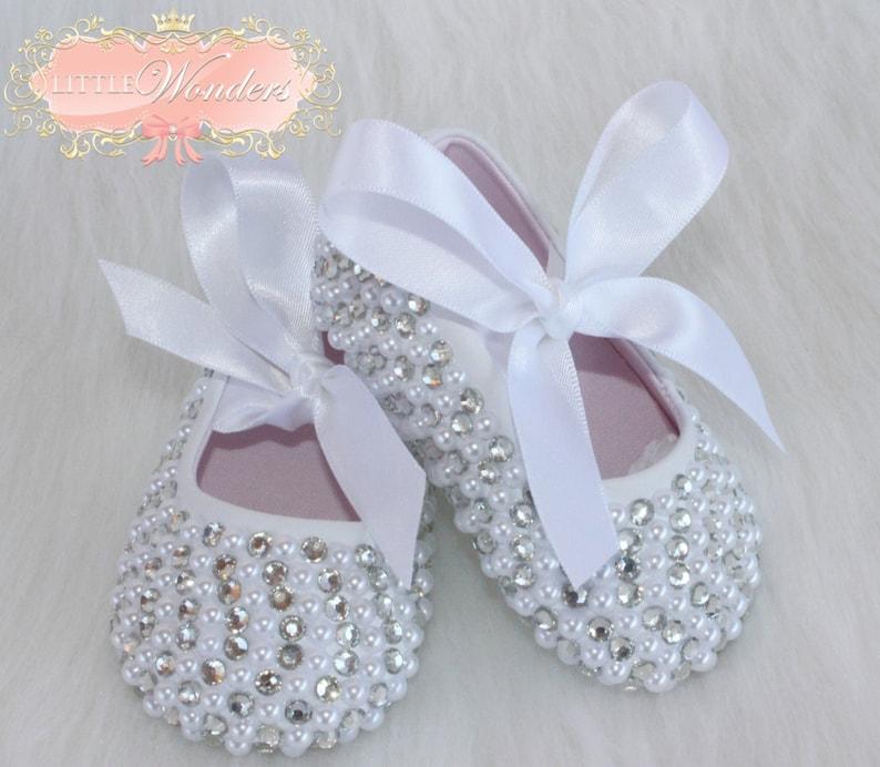 3e1c86bffc7fb Swarovski Crystal And Pearl Baby Girl Ballerina Flat Shoes