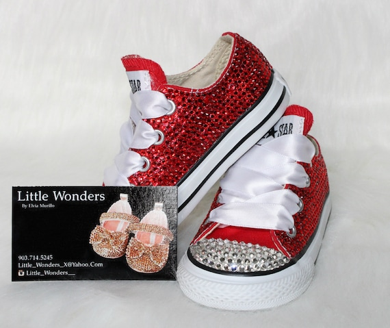 cbad6bef59a7 Infant   Toddlers Girl Red Swarovski Rhinestone Converse