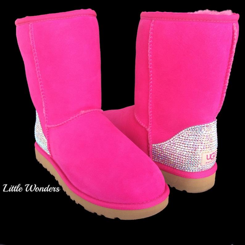 e134f8663b0c Swarovski Rhinestone Women Pink Ugg Boots   Etsy