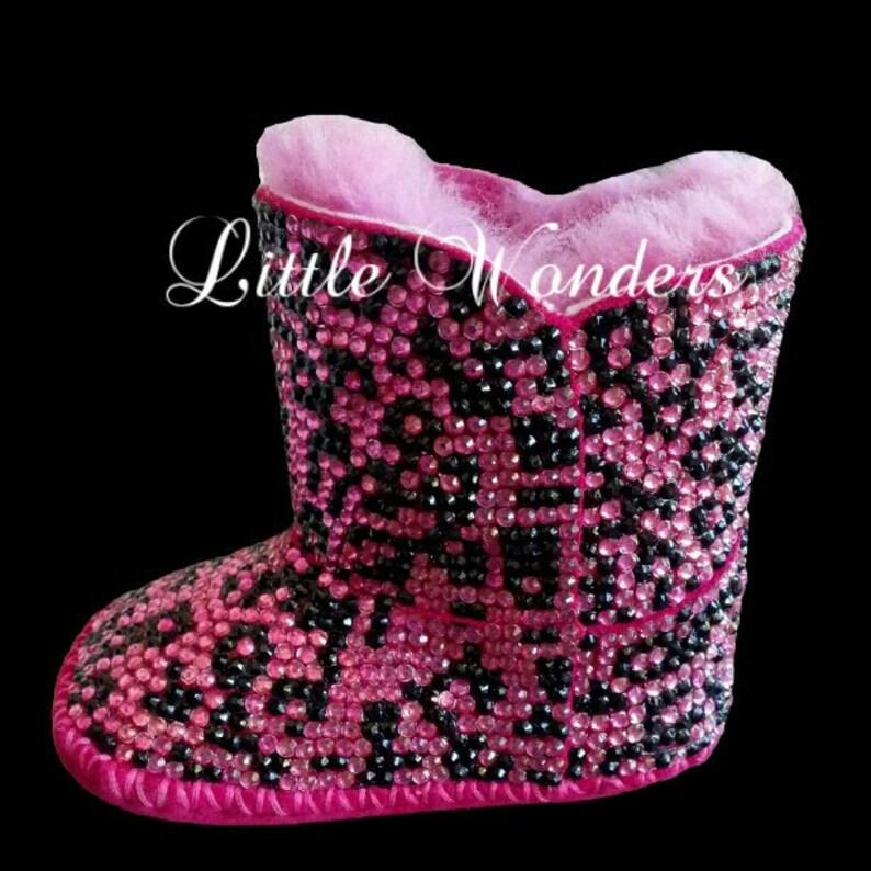 43e7adade9a4 Swarovski Rhinestone Baby Girl Cheetah Ugg Boots   Etsy