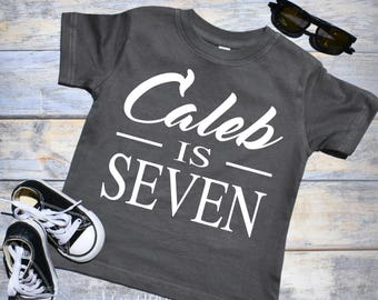 Personalized Birthday Shirt CUSTOM NAME AGE Custom Boy 7th Boys