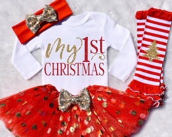 my 1st christmas my 1st christmas outfit girl my first christmas my 1st christmas girl baby girl christmas long sleeve s11 xms red