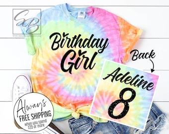 Birthday Girl Shirt. Custom Birthday Girl Shirt. Girls Birthday Shirt. Personalized. Tie Dye. 6th Birthday. 7th Birthday. 8th Birthday.