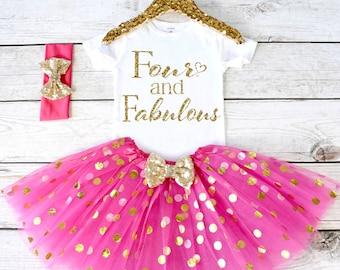 Girls Birthday Outfit Tutu Set Shirt Girl 4th S4 4BD HOTPINK