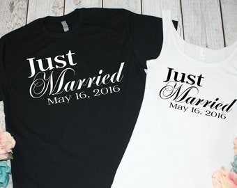 46b5da771d1 Just Married Shirts. Newlywed Shirts. Mr and Mrs Shirts. Honeymoon Shirts.  Bride and Groom Shirts. Wedding Date. Bridal Shower Gift.