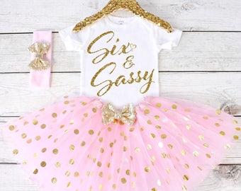 85a9397a20856 Six and Sassy. CUSTOM AGE. Girls Birthday Outfit. Tutu Set. Birthday Tutu  Outfit. Birthday Outfit Girl. 6th birthday S7 7BD (LTPK)