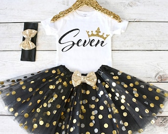 girls birthday outfit tutu set birthday tutu outfit birthday outfit girl 7th birthday s8 7bd black