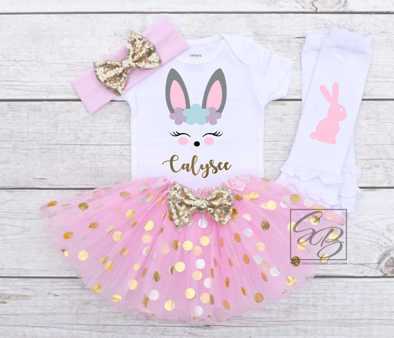 Easter bunny Blessed Bunny baby bodysuitEaster outfitEaster nativity personalized Easter gift hand made boy girl custom romper pink
