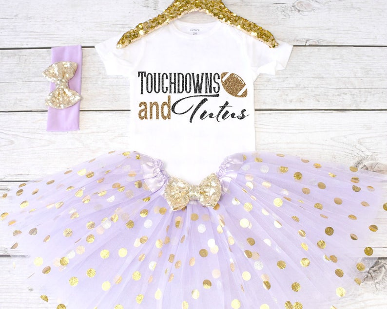 Baby Girl Outfits Girls Clothing Touchdowns and Tutus Girls Outfit Girls Clothing Tutu Set Girls Football Outfit S27 GRL LAV