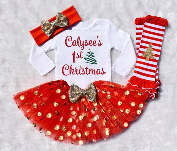 Personalized 1st Christmas Outfit Baby Girl 1st Christmas | Etsy