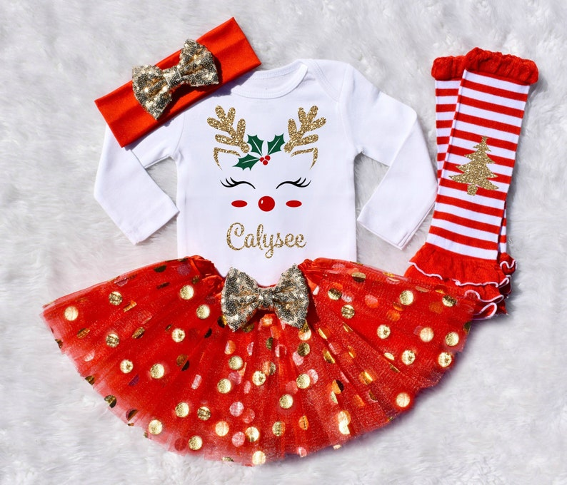 773d453a3 Christmas Outfit Baby Girl Personalized Reindeer Outfit / | Etsy