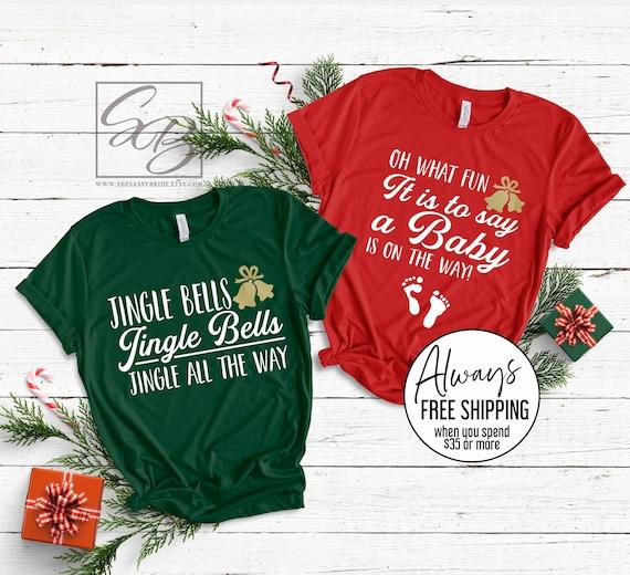 Couples Christmas Pregnancy Announcement Shirts UNISEX FIT