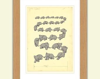 Babar A3 Satin Print reproduction Illustration - Jean de Brunhoff No.1