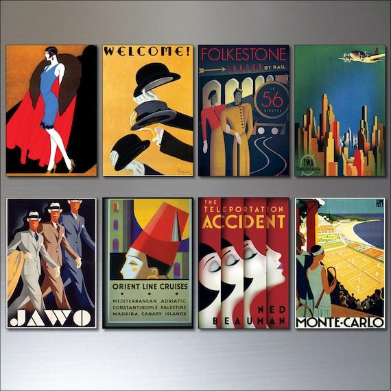 Art Deco Vintage Plakaty Zestaw 8 Retro Reprodukcji Magnesy Lodówka