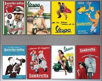 Vintage Italian scooter Vespa Lambretta motorbike adverts set of 8 fridge magnet.