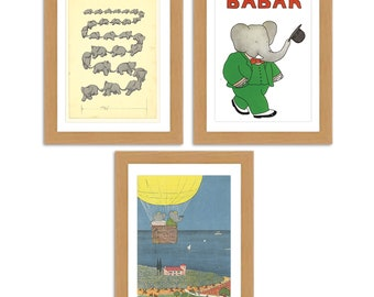 Lovely Babar the elephant Collection of 3 A3 Satin reproduction Luxury Print
