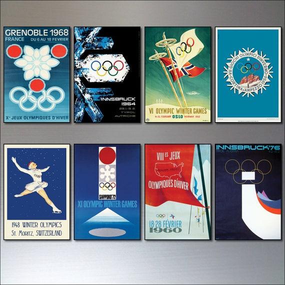 Zimowe Igrzyska Olimpijskie Plakaty Vintage Design Magnesy Na Lodówkę 8 Sportów Zimowych Magnesów