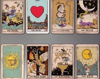 Vintage Tarot cards fridge magnets set of 8 retro thin decorative tarot card magnets No.2