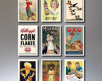 Vintage Fridge Magnets - set of 9, retro adverts SERIES No.2