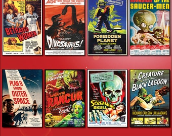 Classic B Movie Film Poster Fridge Magnets - Set of 8 large fridge magnets No.2