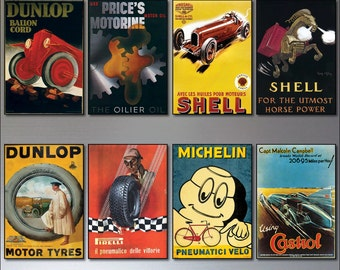8 Vintage Auto Motor adverts fridge magnets - set of 8 vintage fridge magnets