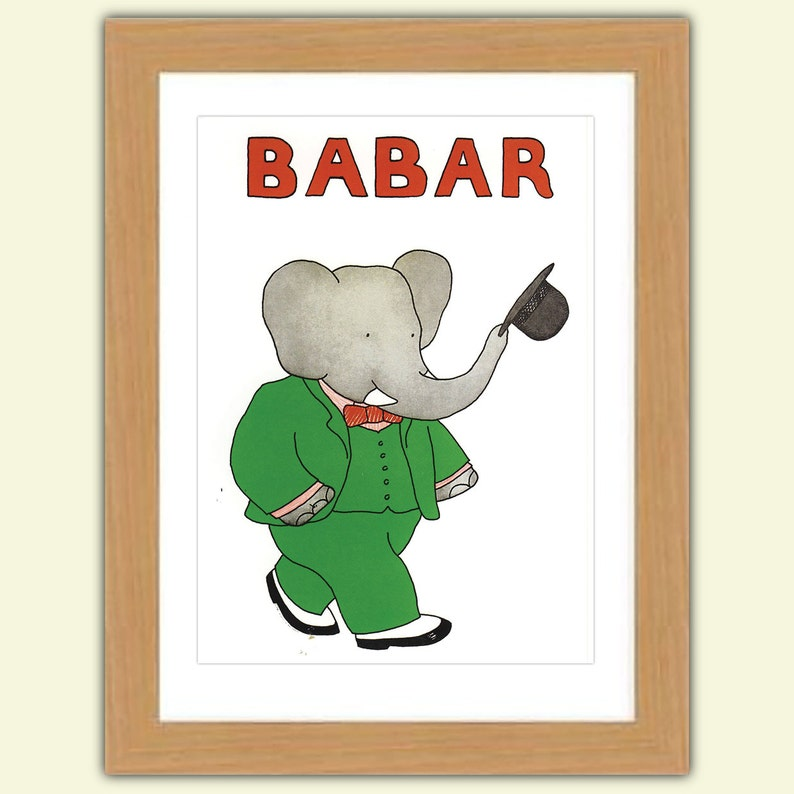Babar A3 Satin Luxury Print reproduction Illustration  Jean image 0