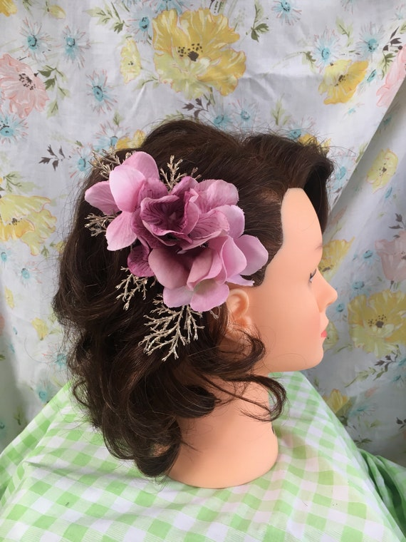 Dawn Vintage Inspired Hair Accessory Pinup Hydrangeas Pink Etsy