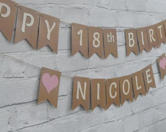 PERSONALISED 18th BIRTHDAY BUNTING.  Happy 18th Birthday bunting, choose theme pennants