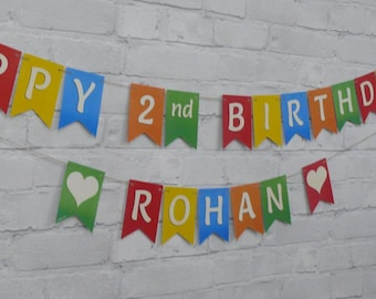 2nd BIRTHDAY BUNTING Coloured Personalised Birthday Bunting