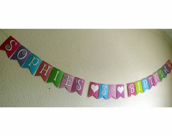 Custom 3rd Birthday Bunting.  These pretty pennants will be a fun festive addition to your celebration.