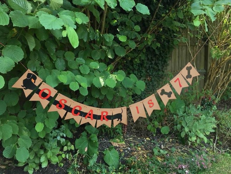 BLACK SMOOTH Dachshund Sausage Dog Birthday Bunting Pet Decoration