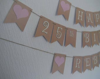 PERSONALISED 25th BIRTHDAY BUNTING.  or any other age.