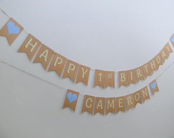 PERSONALISED BIRTHDAY BUNTING.  Happy 1st Birthday bunting, cream with coloured hearts