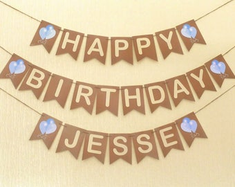 PERSONALISED Birthday BUNTING, ready to ship within 1 working day.  Birthday BANNER with balloons