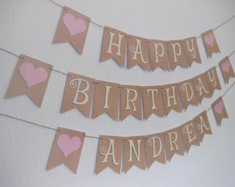 PERSONALISED BIRTHDAY BUNTING, ready to ship within 1 working day.  Birthday banner with pink hearts