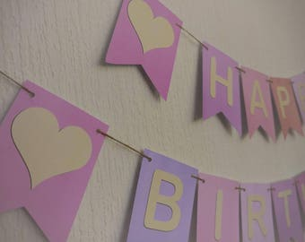 PASTEL COLOURS birthday bunting banner, ready to ship within 1 working day