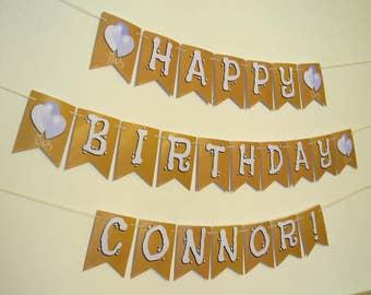 Themed Birthday BUNTING for boy or girl.  Birthday BANNER, Custom birthday decorations.