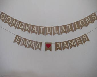 Wedding Engagement BUNTING BANNER, Our Smooth Font in Cream with a RED Heart