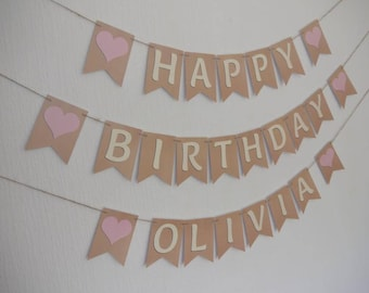 PERSONALISED Birthday bunting, ready to ship within 1 working day.  With PINK HEARTS