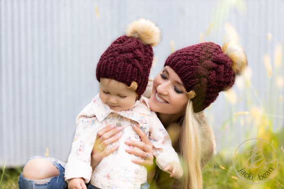 MOMMY AND ME Matching Knit Hat, Mother-Daughter Matching Knit Hat, Matching Knitted Winter Hat, Mom and Baby Matching Winter Beanie