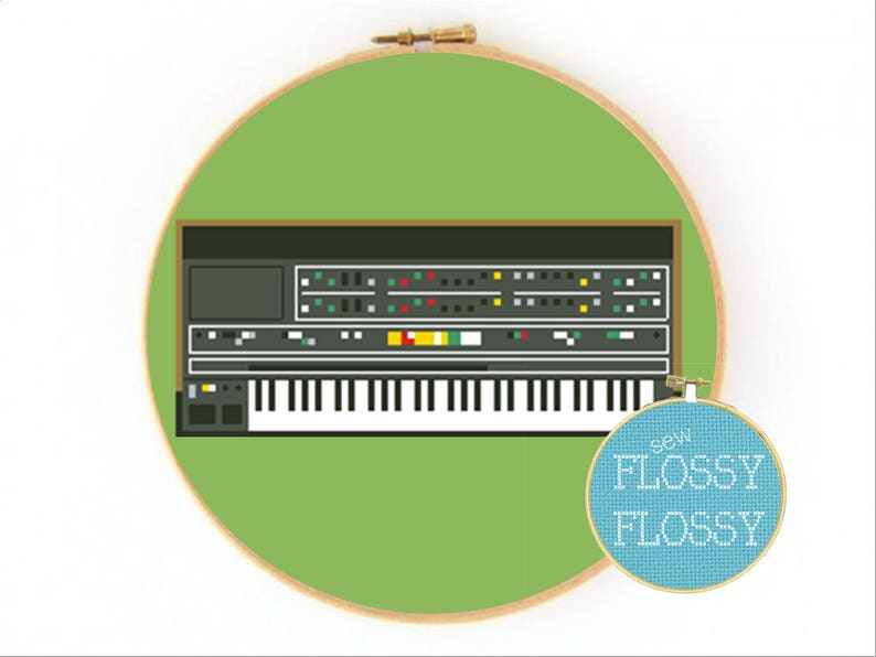 Synth Legends (ARP, Korg, Moog, Roland, & Yamaha Synthesizers) - Cross  Stitch/Embroidery Hoop Pattern - PDF Instant Digital Download