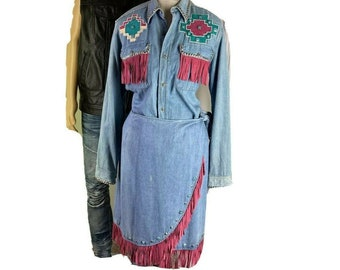 Tamorah Marie Western Shirt and Wrap Skirt two-piece Denim Outfit Vtg 1980s OOAK