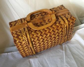 Vintage MAGID 1970s Hand Woven Straw Bamboo Box Purse Handbag 57f2f44f0a