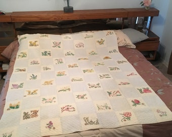 Vtg Hand Sewn Quilt Embroidered Appliqued State Flowers 1960's