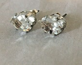 Goshenite Earrings in Sterling Silver 1ct Oval 9x7mm Fancy Checkerboard Cut