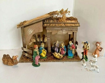 Sears Nativity Set Italy 7 Hand Painted Figs and Stable + 7 EXTRA Pieces Vtg 70s