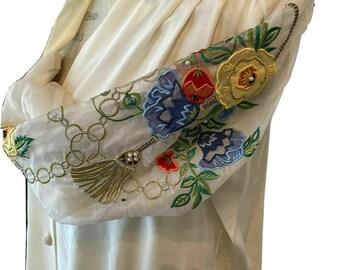 VTG 1980s Jerri Sherman 100% Silk Blouse size 8 Embellished Sheer Sleeves NEVER WORN
